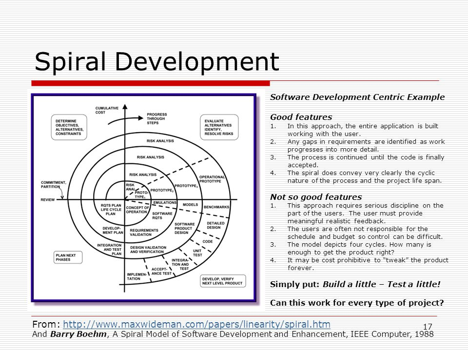 17 Spiral Development From: http://www.maxwideman.com/papers/linearity/spiral.htmhttp://www.maxwideman.com/papers/linearity/spiral.htm And Barry Boehm, A Spiral Model of Software Development and Enhancement, IEEE Computer, 1988 Software Development Centric Example Good features 1.In this approach, the entire application is built working with the user.