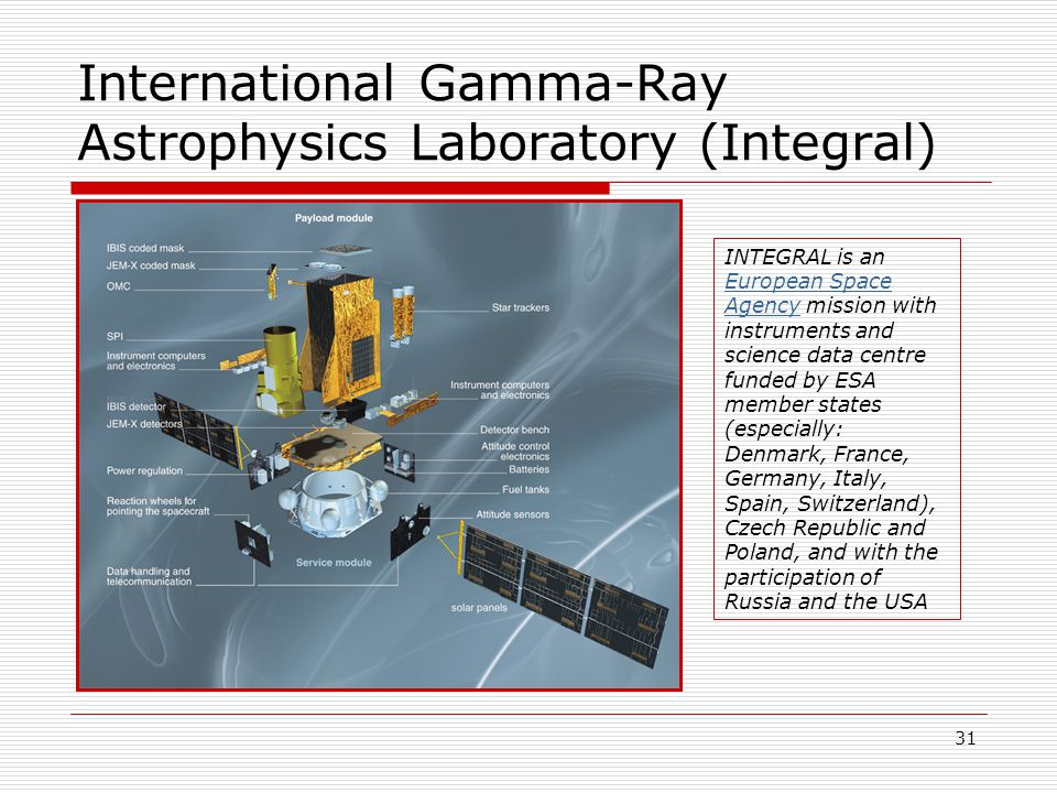 31 International Gamma-Ray Astrophysics Laboratory (Integral) INTEGRAL is an European Space Agency mission with instruments and science data centre funded by ESA member states (especially: Denmark, France, Germany, Italy, Spain, Switzerland), Czech Republic and Poland, and with the participation of Russia and the USA European Space Agency