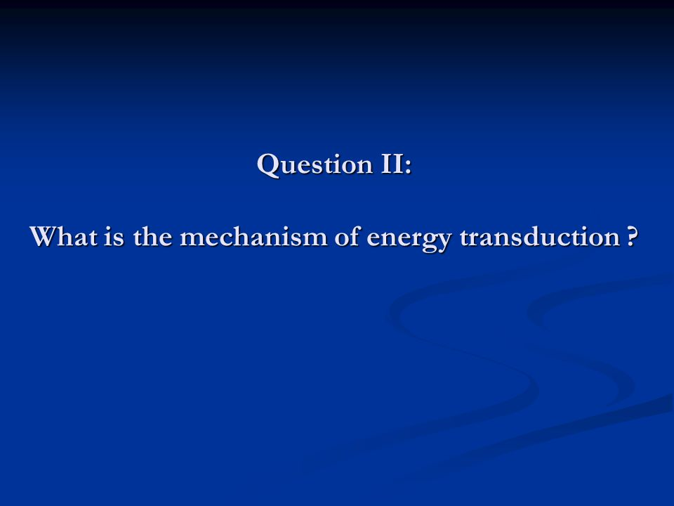 Question II: What is the mechanism of energy transduction ?