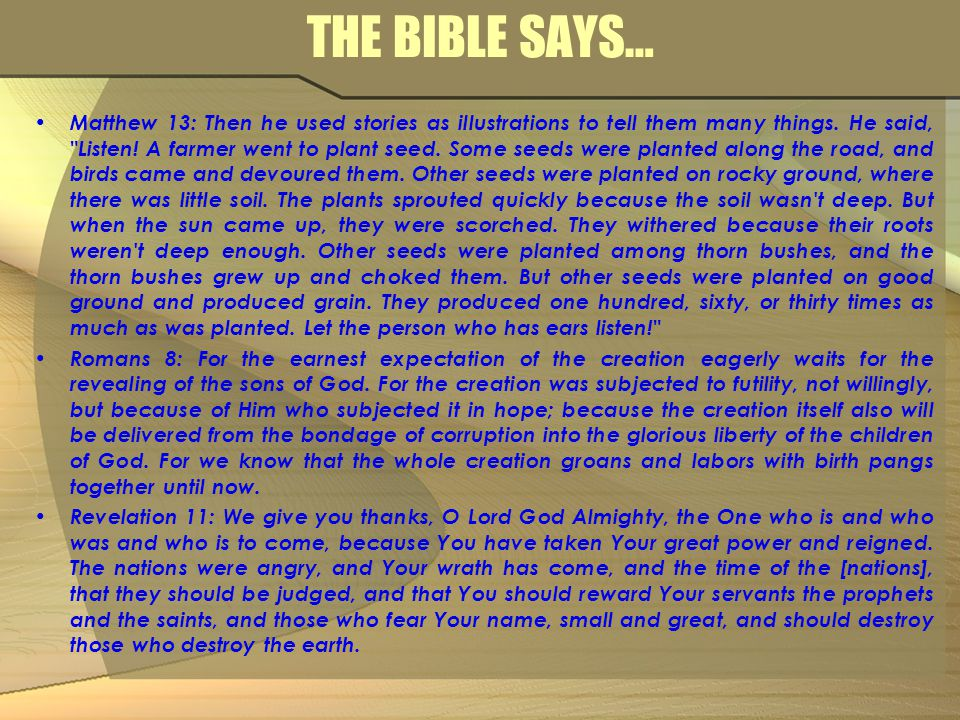 THE BIBLE SAYS… Matthew 13: Then he used stories as illustrations to tell them many things. He said,
