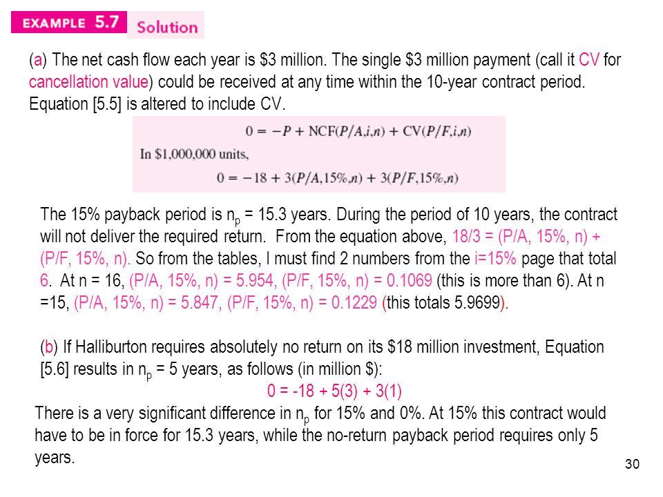 (a) The net cash flow each year is $3 million.