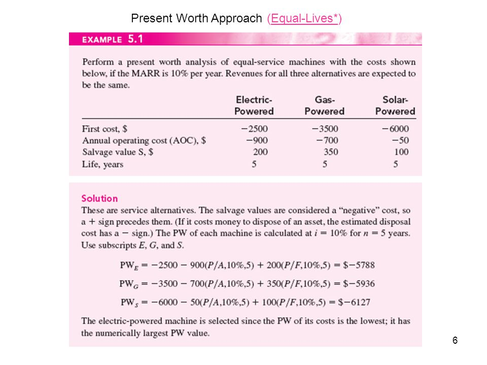 6 Present Worth Approach (Equal-Lives*)
