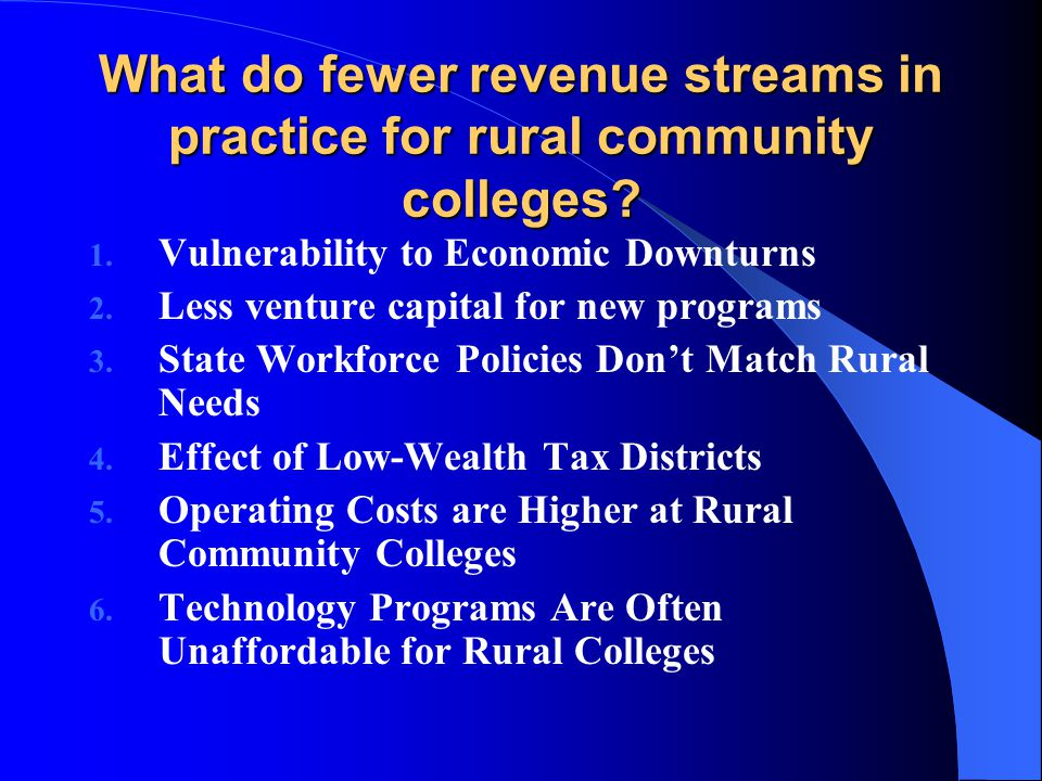 What do fewer revenue streams in practice for rural community colleges.