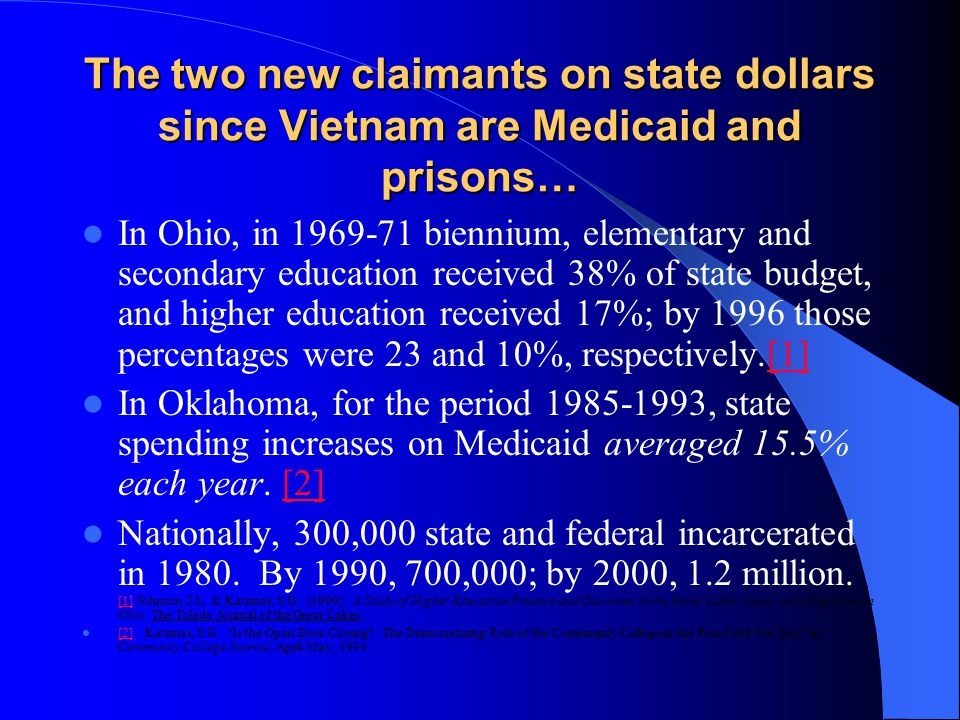 The two new claimants on state dollars since Vietnam are Medicaid and prisons… In Ohio, in 1969-71 biennium, elementary and secondary education received 38% of state budget, and higher education received 17%; by 1996 those percentages were 23 and 10%, respectively.[1][1] In Oklahoma, for the period 1985-1993, state spending increases on Medicaid averaged 15.5% each year.