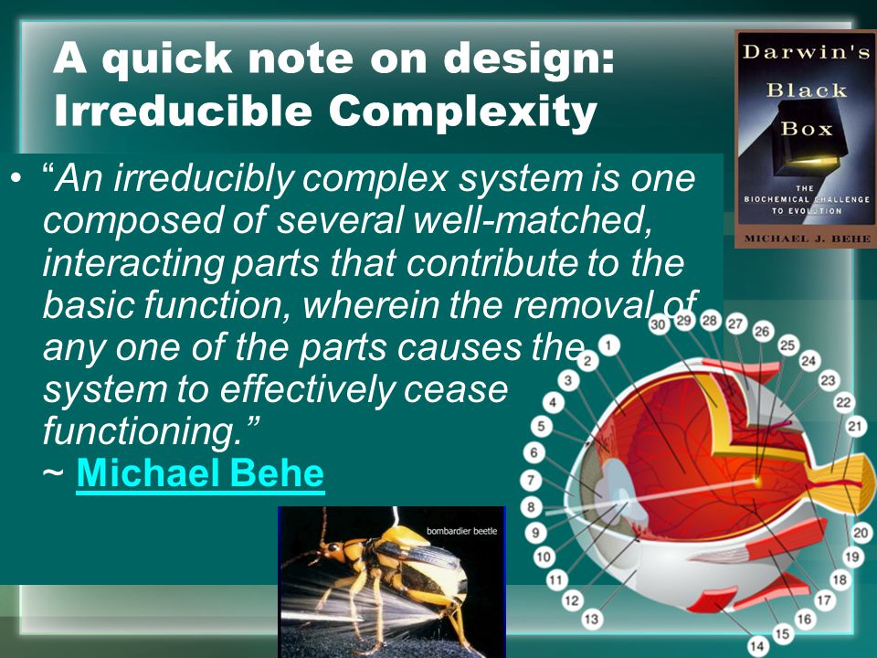 A quick note on design: Irreducible Complexity An irreducibly complex system is one composed of several well-matched, interacting parts that contribute to the basic function, wherein the removal of any one of the parts causes the system to effectively cease functioning. ~ Michael BeheMichael Behe