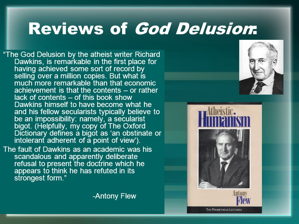 Reviews of God Delusion: The God Delusion by the atheist writer Richard Dawkins, is remarkable in the first place for having achieved some sort of record by selling over a million copies.
