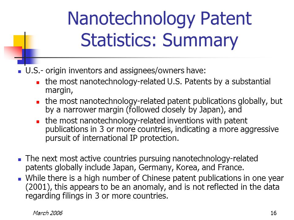 March 200616 Nanotechnology Patent Statistics: Summary U.S.- origin inventors and assignees/owners have: the most nanotechnology-related U.S. Patents