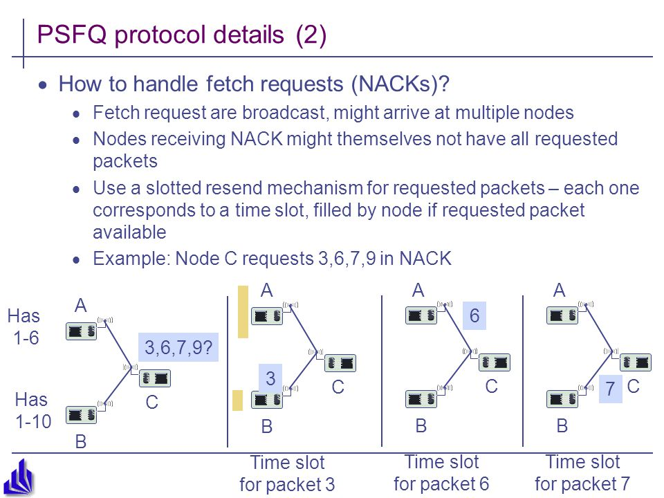3,6,7,9. PSFQ protocol details (2)  How to handle fetch requests (NACKs).