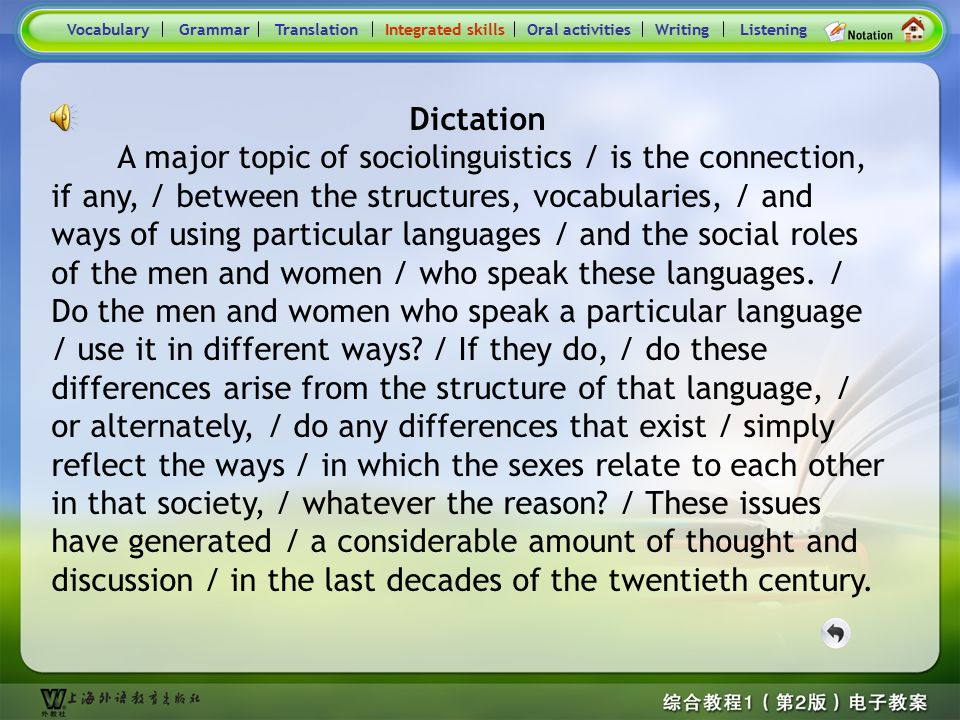 Consolidation Activities- Integrated skills VocabularyTranslationIntegrated skillsOral activitiesWritingListeningGrammar Dictation You will hear a pas