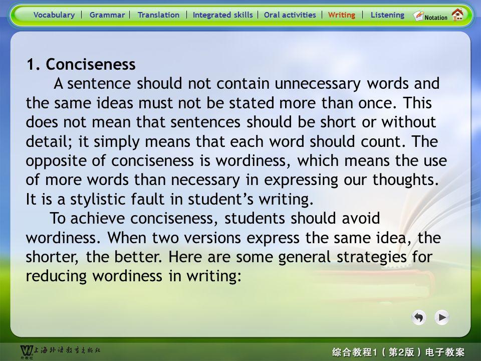 Consolidation Activities- Writing VocabularyTranslationIntegrated skillsOral activitiesWritingListeningGrammar Conciseness Practice