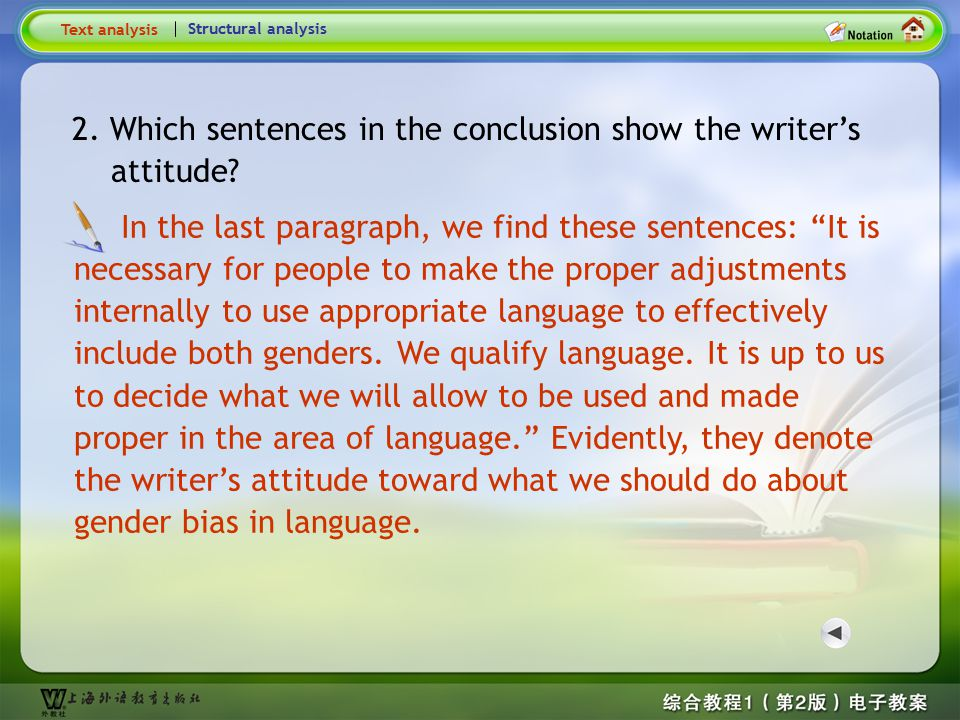 2.Which sentences in the conclusion show the writer's attitude.