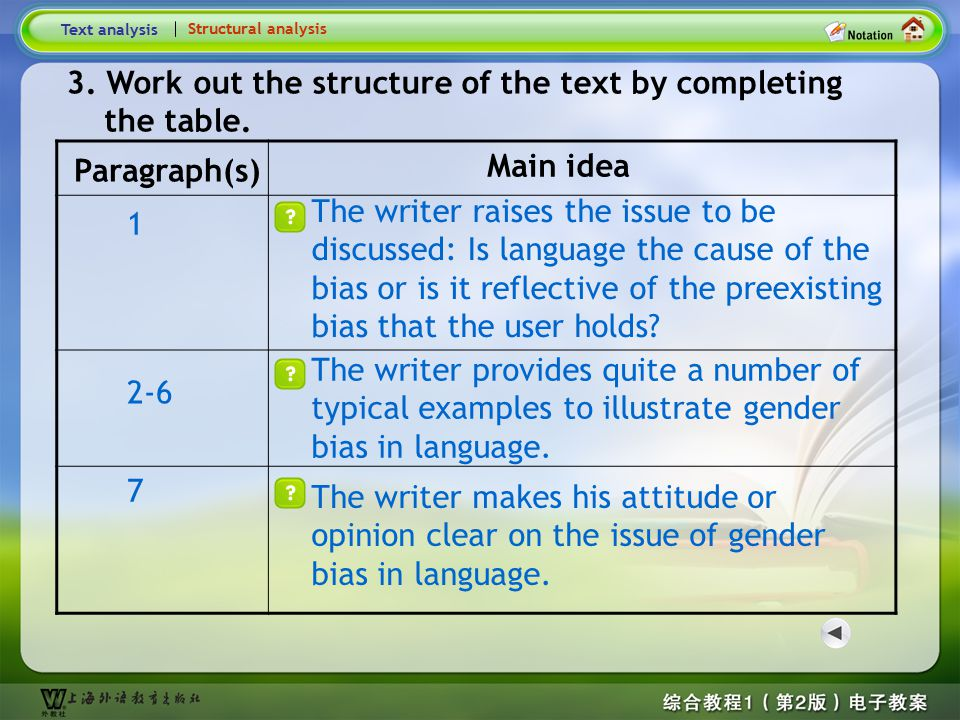 Structural analysis Structural analysis 1 This text is an expositive essay with reference to gender bias in language. 1. What type of writing is the t