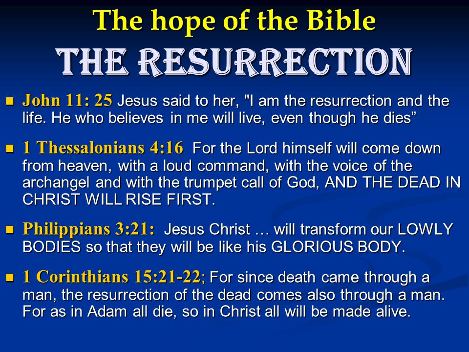 The hope of the Bible The Resurrection John 11: 25 Jesus said to her, I am the resurrection and the life.