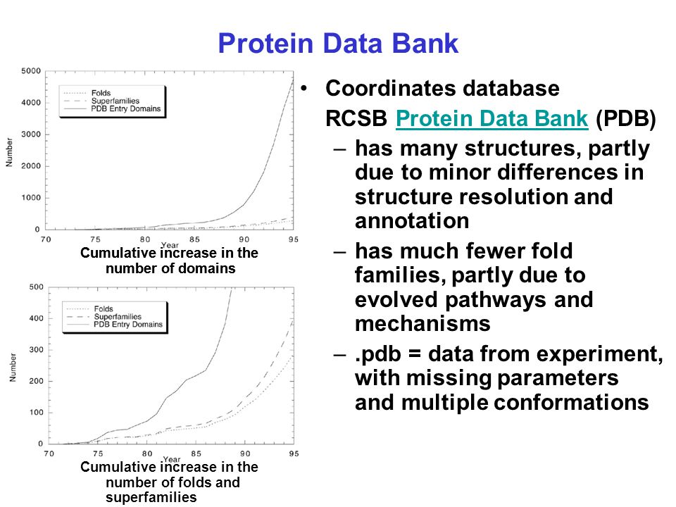 Protein Data Bank Coordinates database RCSB Protein Data Bank (PDB)Protein Data Bank –has many structures, partly due to minor differences in structur
