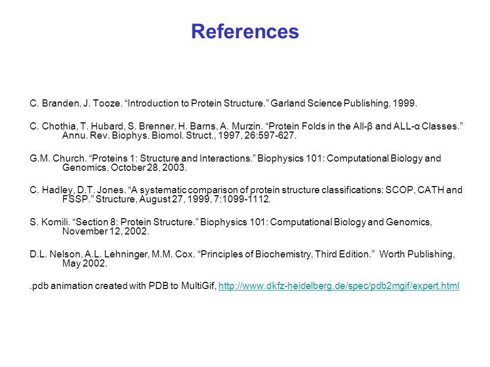 References C. Branden, J. Tooze.