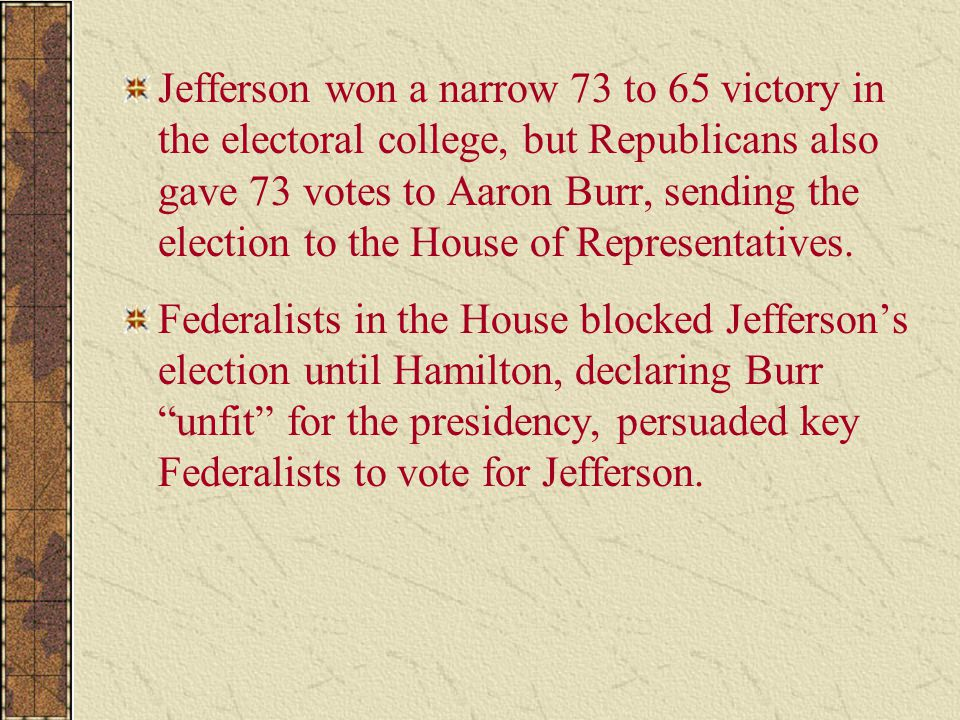 Jefferson won a narrow 73 to 65 victory in the electoral college, but Republicans also gave 73 votes to Aaron Burr, sending the election to the House of Representatives.