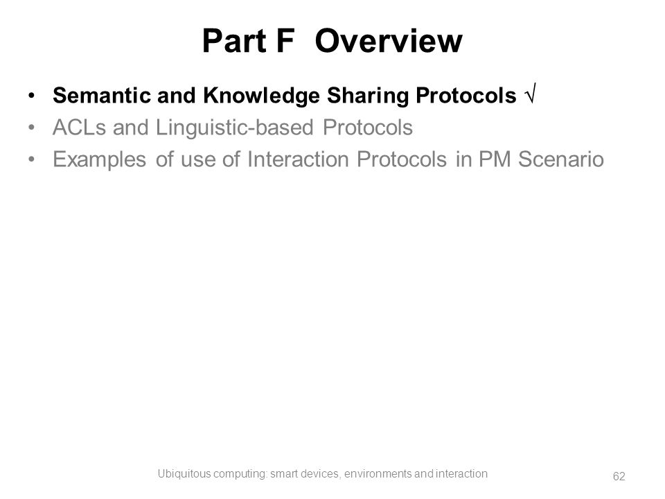 Part F Overview Semantic and Knowledge Sharing Protocols  ACLs and Linguistic-based Protocols Examples of use of Interaction Protocols in PM Scenario