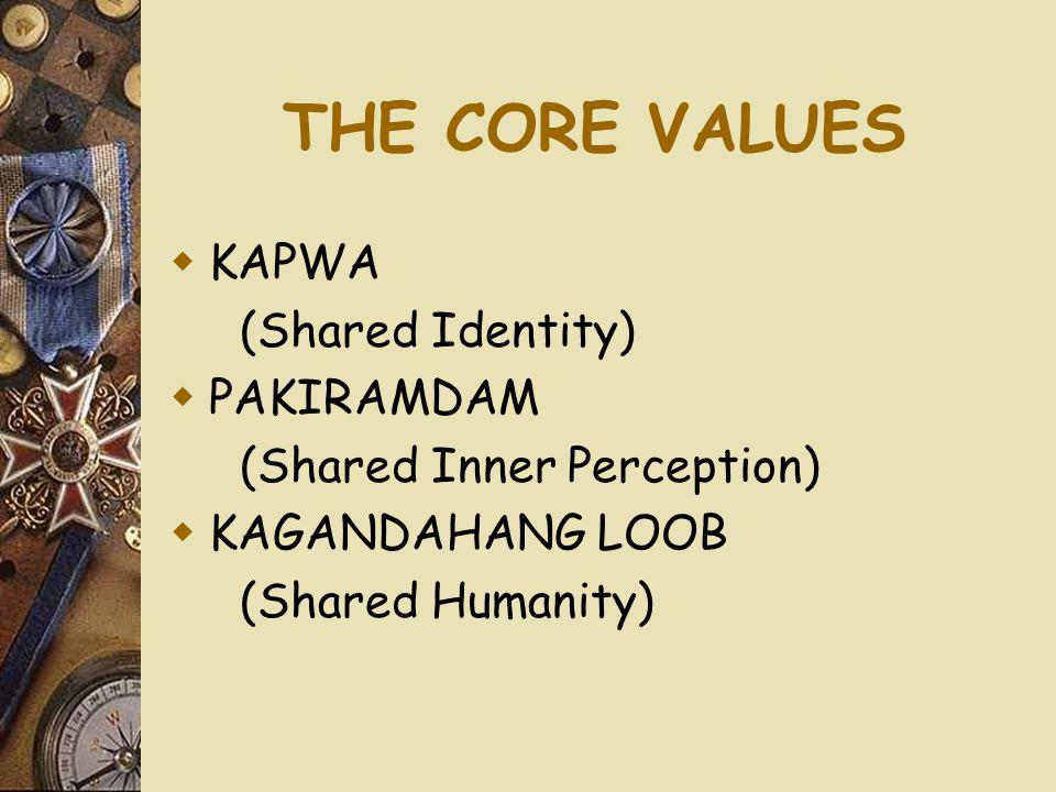 THE CORE VALUES  KAPWA (Shared Identity)  PAKIRAMDAM (Shared Inner Perception)  KAGANDAHANG LOOB (Shared Humanity)