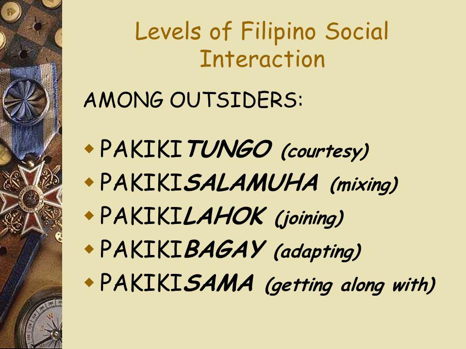 Levels of Filipino Social Interaction AMONG OUTSIDERS:  PAKIKITUNGO (courtesy)  PAKIKISALAMUHA (mixing)  PAKIKILAHOK (joining)  PAKIKIBAGAY (adapt