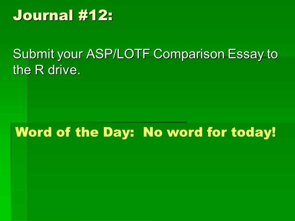 Journal #12: Submit your ASP/LOTF Comparison Essay to the R drive.