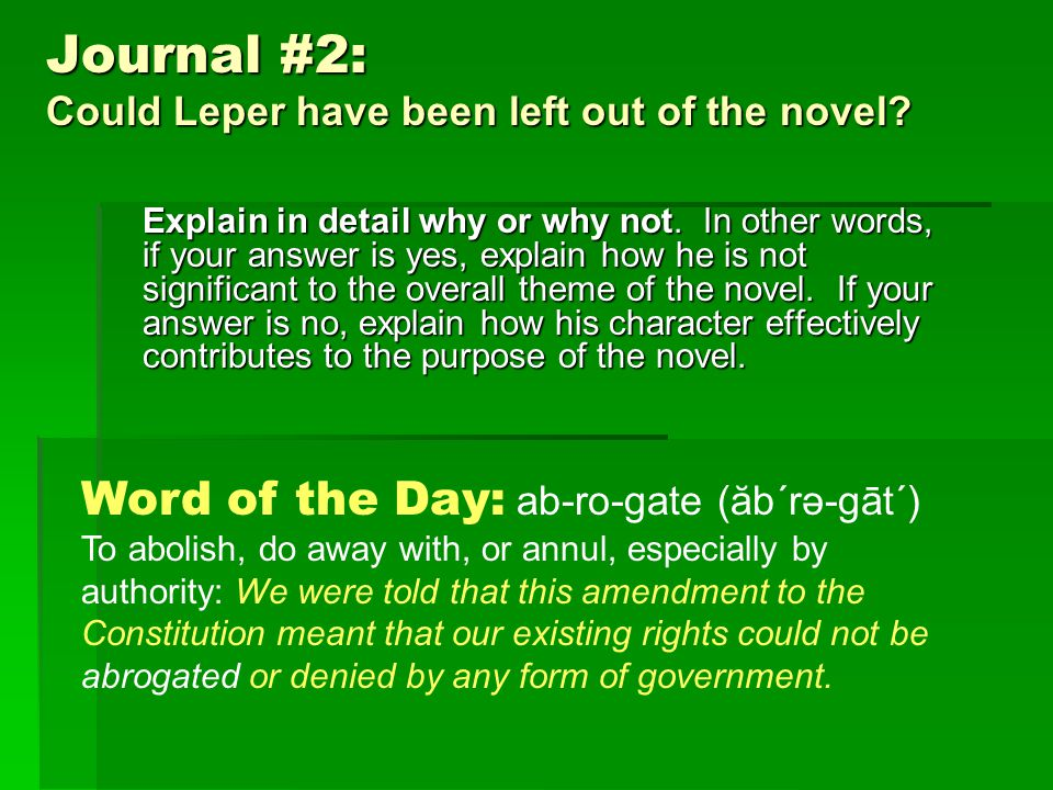 Journal #2: Could Leper have been left out of the novel.