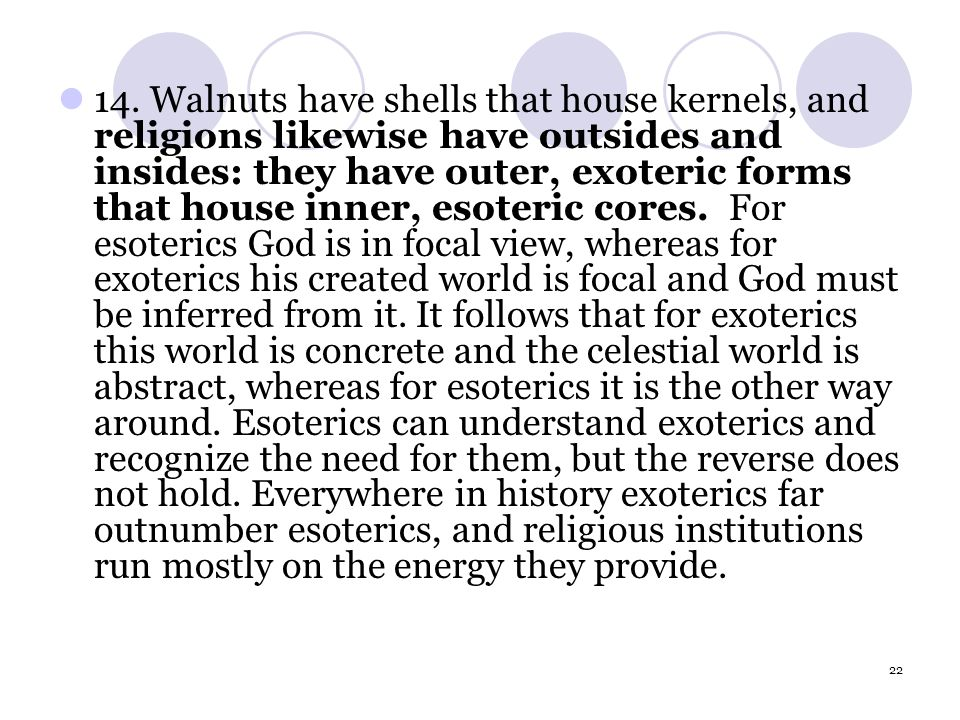 22 14. Walnuts have shells that house kernels, and religions likewise have outsides and insides: they have outer, exoteric forms that house inner, eso