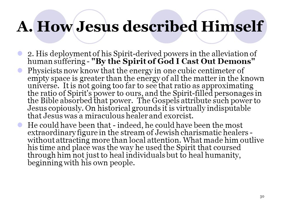 30 A. How Jesus described Himself 2.
