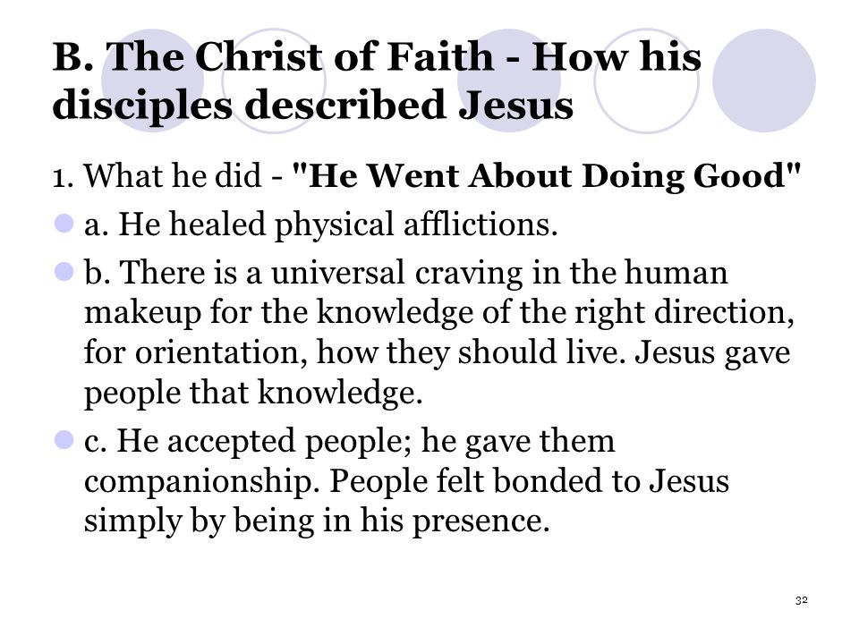 32 B. The Christ of Faith - How his disciples described Jesus 1.