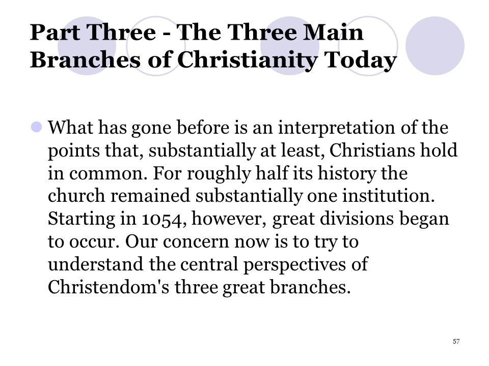 57 Part Three - The Three Main Branches of Christianity Today What has gone before is an interpretation of the points that, substantially at least, Christians hold in common.