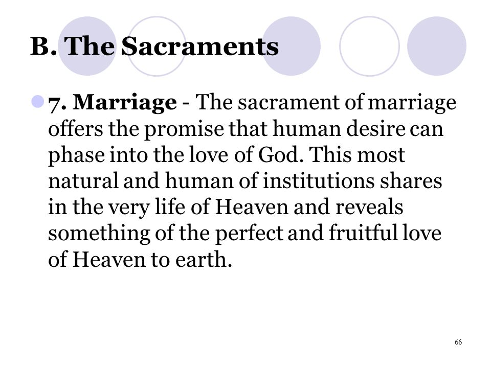 66 B. The Sacraments 7.