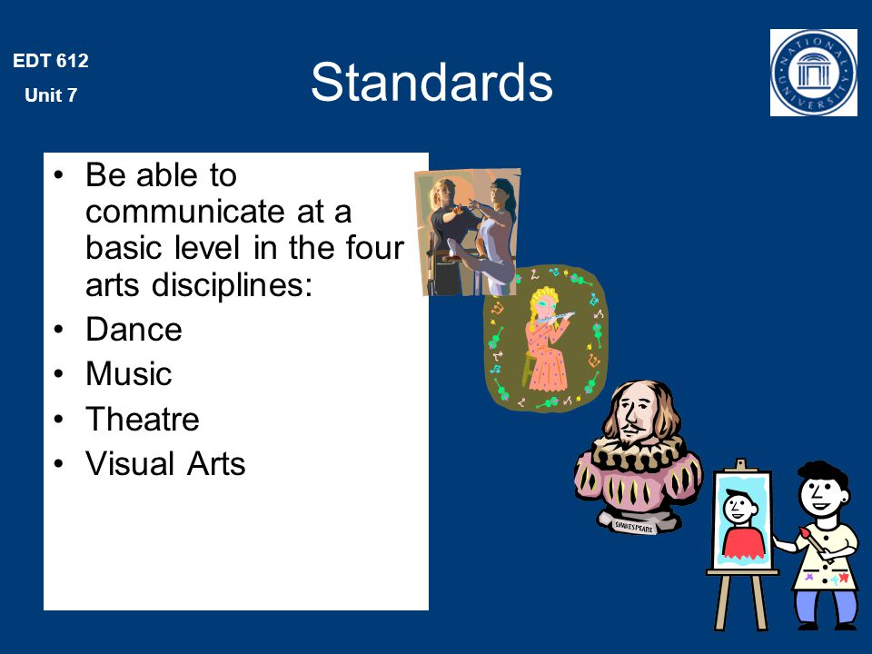 EDT 612 Unit 7 Standards Be able to communicate proficiently in at least one art form, with the ability to define and solve artistic problems with insight, reason, and technical proficiency