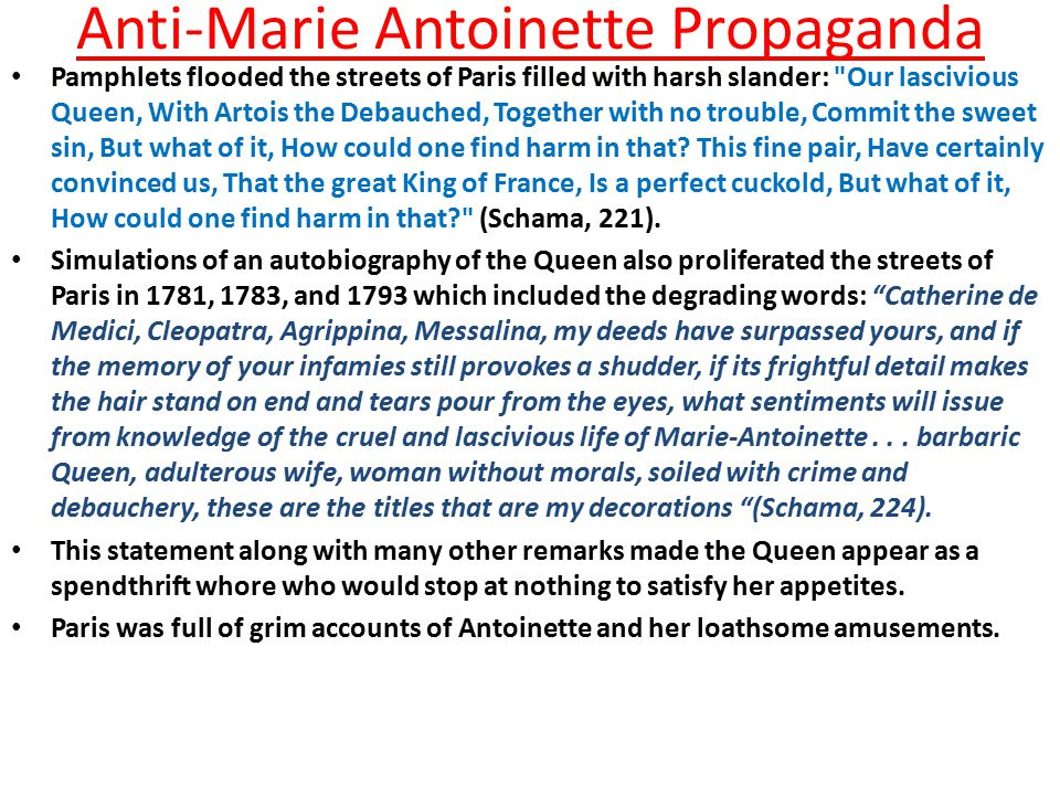 Anti-Marie Antoinette Propaganda Vindictive rumours began that Marie Antoinette was sleeping with her brother-in-law.
