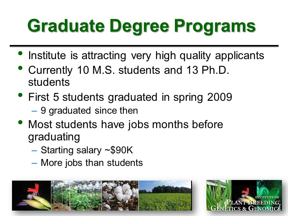 Undergraduate Programs Lack of undergraduate program –Major gap/deficiency 2 Georgia Seed Development Internships Undergraduate research training in individual programs Would like to be involved with the undergraduate Applied Biotechnology major –Great feeder program for graduate school in PBGG