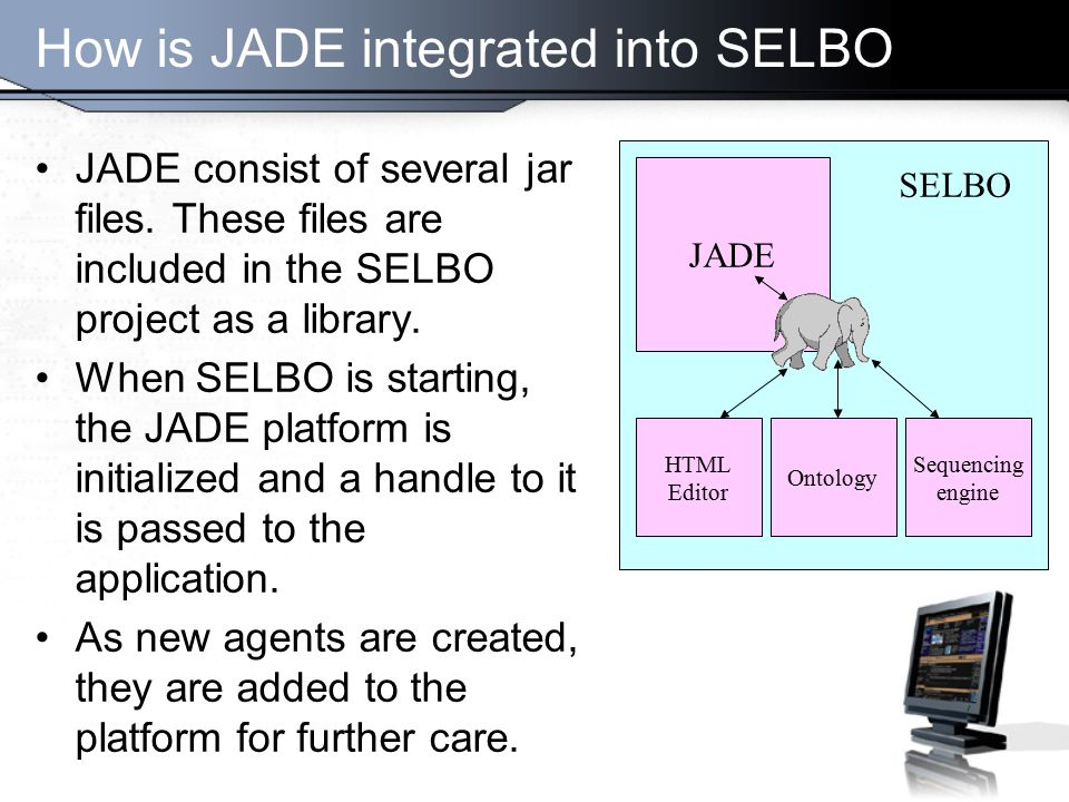 How is JADE integrated into SELBO JADE consist of several jar files.