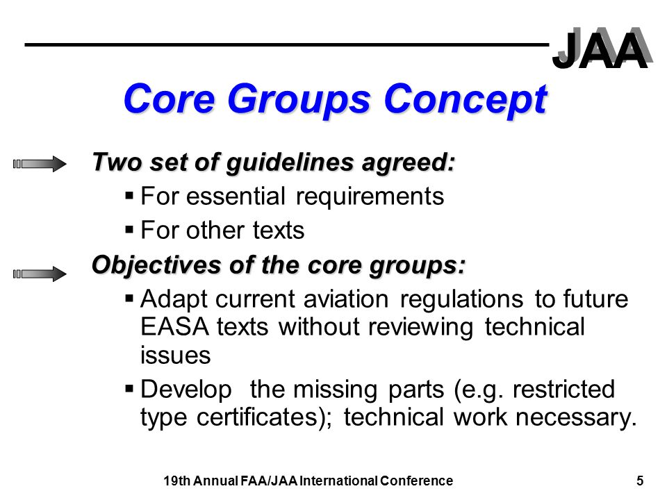 JAA 19th Annual FAA/JAA International Conference 5 Core Groups Concept Two set of guidelines agreed:  For essential requirements  For other texts Objectives of the core groups:  Adapt current aviation regulations to future EASA texts without reviewing technical issues  Develop the missing parts (e.g.