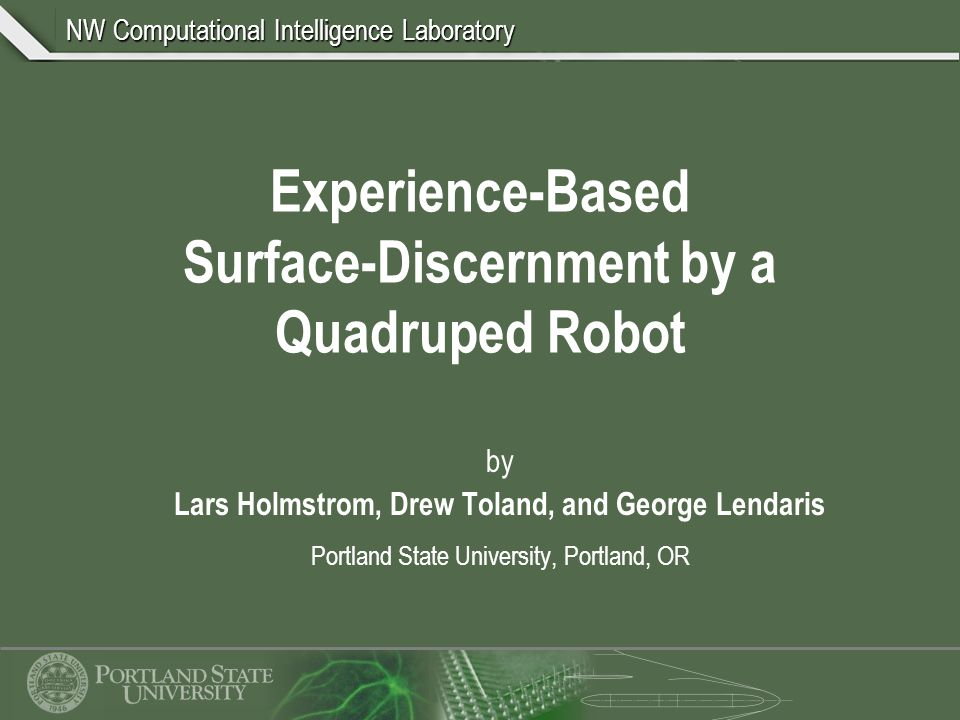 NW Computational Intelligence Laboratory The Same Approach Can Be Applied to Discerning Changes in Surface Incline Surface Discernment Surface Transition Discernment