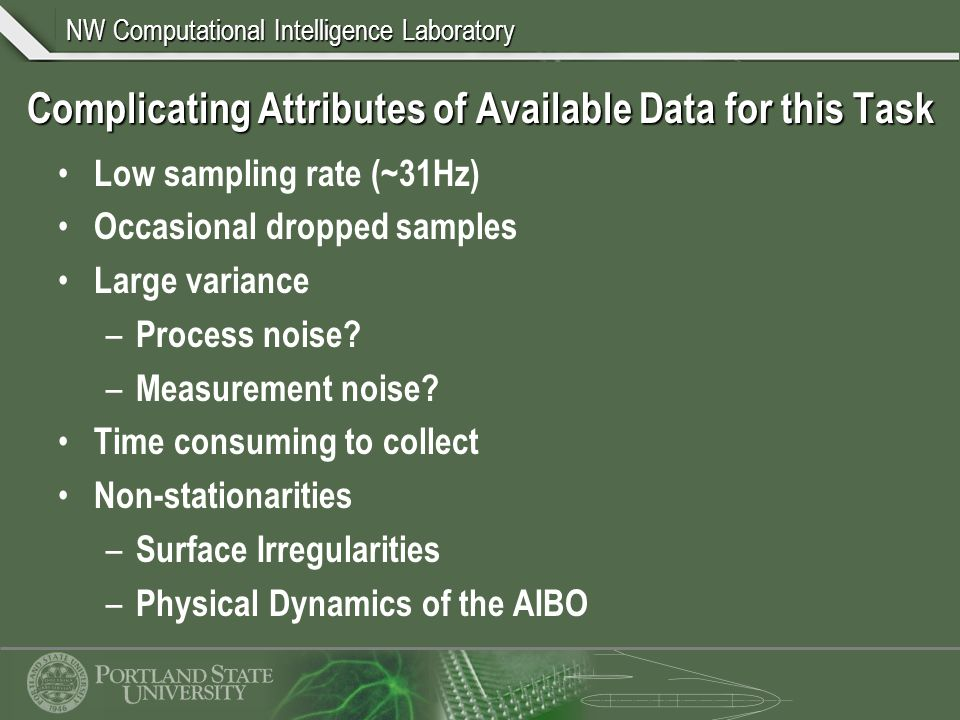 NW Computational Intelligence Laboratory Complicating Attributes of Available Data for this Task Low sampling rate (~31Hz) Occasional dropped samples Large variance – Process noise.