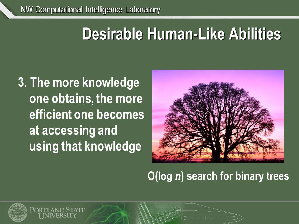 NW Computational Intelligence Laboratory Desirable Human-Like Abilities 3.