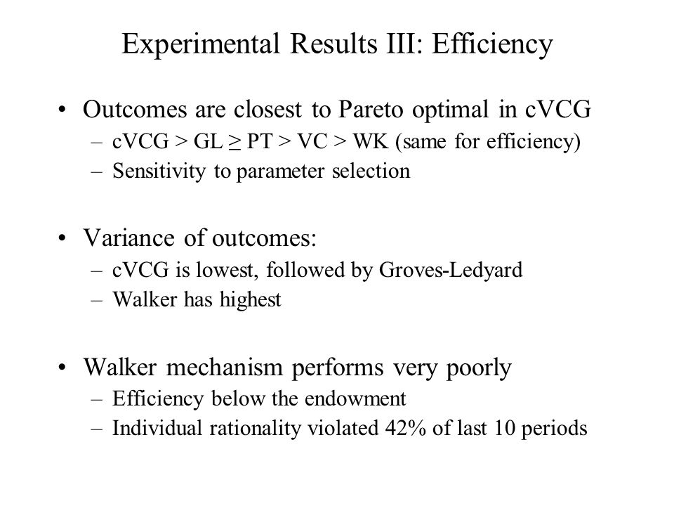 Experimental Results III: Efficiency Outcomes are closest to Pareto optimal in cVCG –cVCG > GL ≥ PT > VC > WK (same for efficiency) –Sensitivity to parameter selection Variance of outcomes: –cVCG is lowest, followed by Groves-Ledyard –Walker has highest Walker mechanism performs very poorly –Efficiency below the endowment –Individual rationality violated 42% of last 10 periods