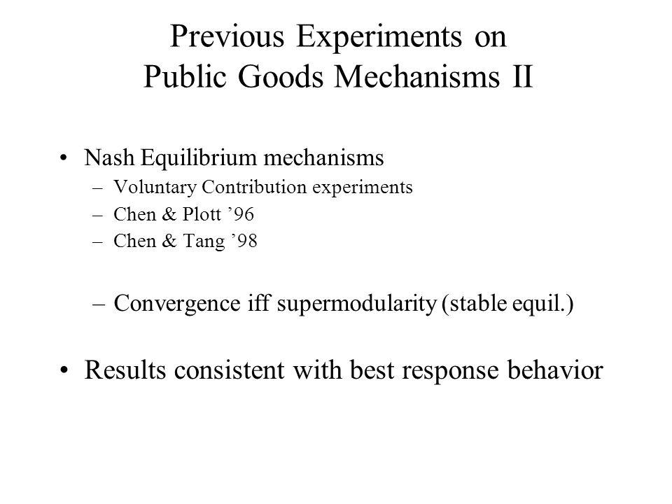 Previous Experiments on Public Goods Mechanisms II Nash Equilibrium mechanisms –Voluntary Contribution experiments –Chen & Plott '96 –Chen & Tang '98