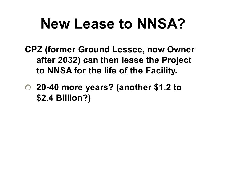 New Lease to NNSA.