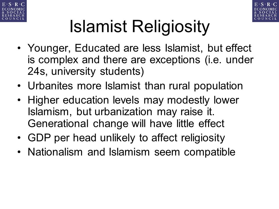 Islamist Religiosity Younger, Educated are less Islamist, but effect is complex and there are exceptions (i.e.