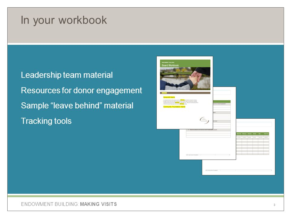 ENDOWMENT BUILDING: MAKING VISITS In your workbook Leadership team material Resources for donor engagement Sample leave behind material Tracking tools 3