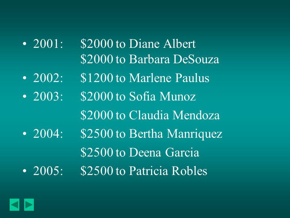 2001:$2000 to Diane Albert $2000 to Barbara DeSouza 2002:$1200 to Marlene Paulus 2003:$2000 to Sofia Munoz $2000 to Claudia Mendoza 2004:$2500 to Bertha Manriquez $2500 to Deena Garcia 2005:$2500 to Patricia Robles