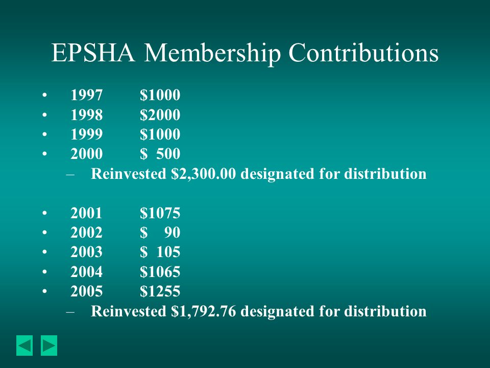 EPSHA Membership Contributions 1997$1000 1998$2000 1999$1000 2000$ 500 –Reinvested $2,300.00 designated for distribution 2001$1075 2002$ 90 2003$ 105 2004$1065 2005$1255 –Reinvested $1,792.76 designated for distribution