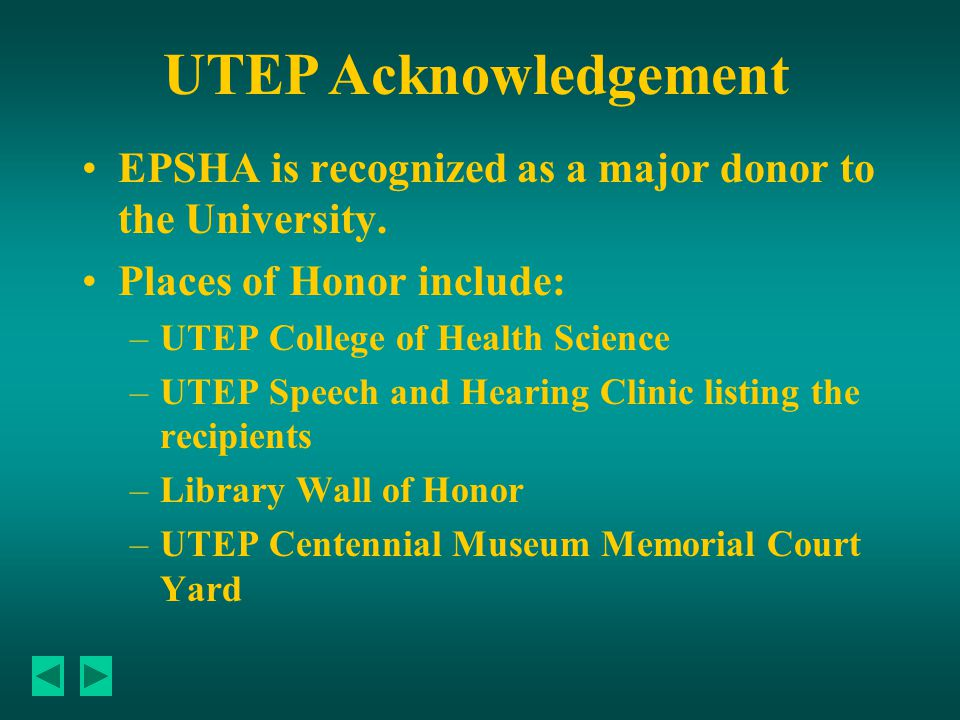 EPSHA is recognized as a major donor to the University.