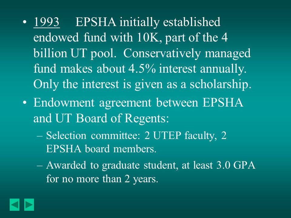 1993 EPSHA initially established endowed fund with 10K, part of the 4 billion UT pool.