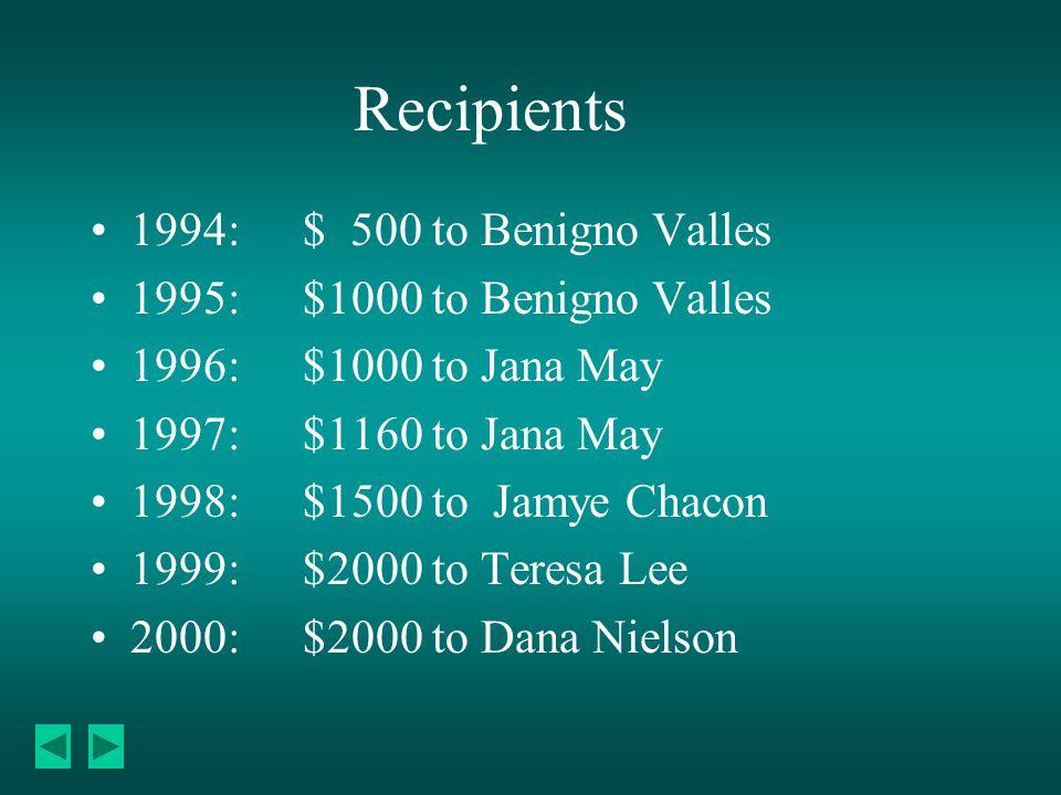 Recipients 1994:$ 500 to Benigno Valles 1995:$1000 to Benigno Valles 1996:$1000 to Jana May 1997:$1160 to Jana May 1998:$1500 to Jamye Chacon 1999:$2000 to Teresa Lee 2000: $2000 to Dana Nielson