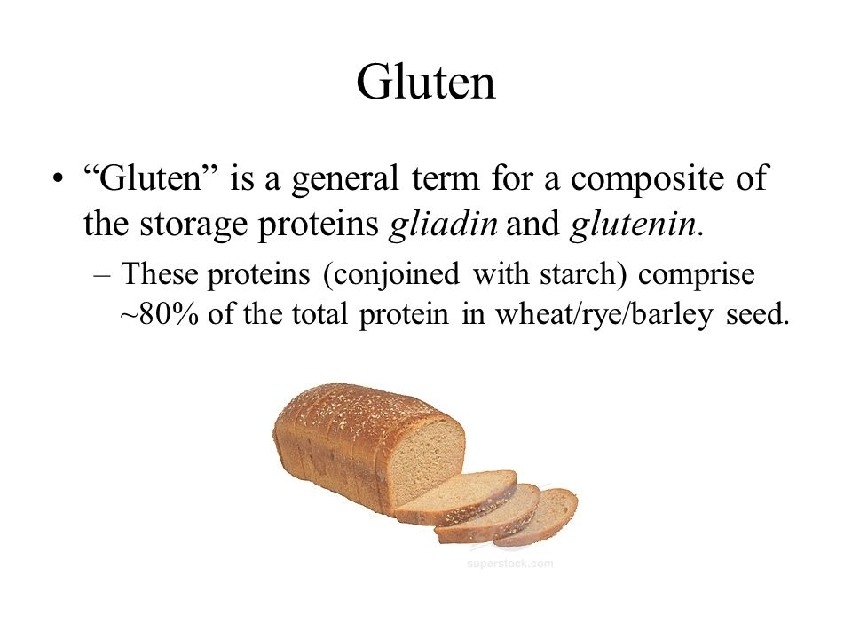 Gluten Gluten is a general term for a composite of the storage proteins gliadin and glutenin.