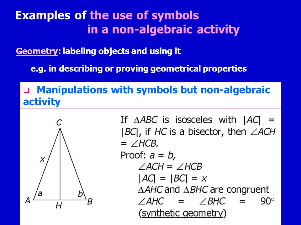 Examples of the use of symbols in a non-algebraic activity Geometry: labeling objects and using it e.g.